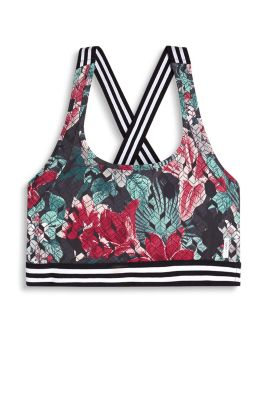 Crop top with cross-over straps on the back and a floral honeycomb print, E-DRY