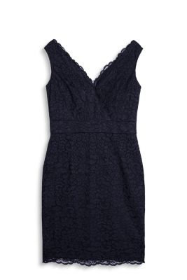 Shift dress in decorative lace with a double V-neckline