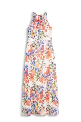 Delicate chiffon maxi dress with a colourful floral pattern, pleated front and cut-away shoulders