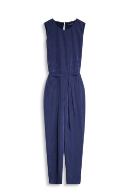 Floaty jumpsuit with an elasticated waistband and tie-around belt