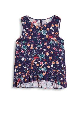 Woven top in a slight A-line cut with a floral print and flounce him