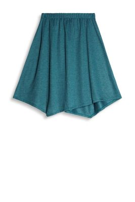 With a fine melange texture: skirt with an elasticated waistband and asymmetric hem