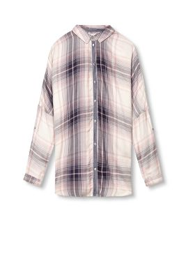 Esprit / Flowing check blouse with batwing sleeves