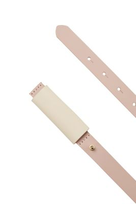 Esprit / Belt with loop detail, 100% leather