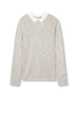 Esprit / Melange long sleeve top with fabric collar
