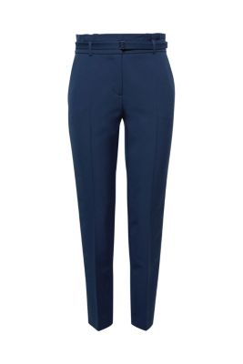 Esprit - Stylish stretch trousers with a paper bag waistband