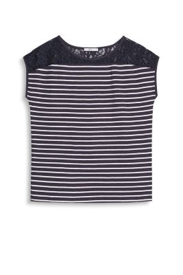 EDC / Striped cotton top with lace