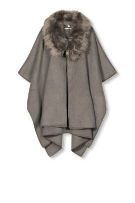 Esprit / Poncho with faux fur collar (detachable)