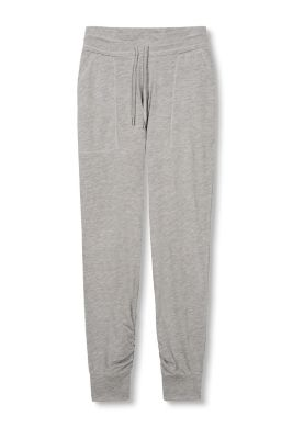 Esprit / Jersey trousers with gathered leg cuffs