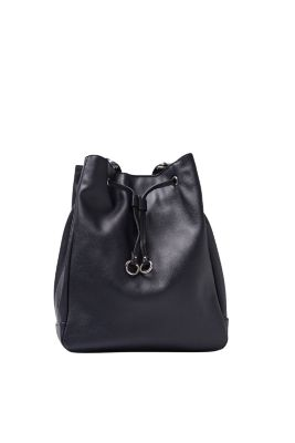 Esprit / Bucket bag met geweven riem, leerlook