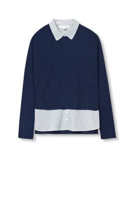 Esprit / 2-In-1 jumper with striped fabric details