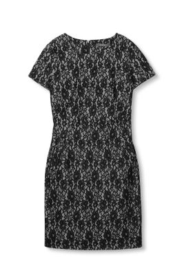 Esprit / Shift dress in lace-covered jersey