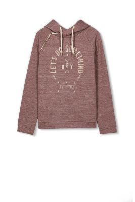 EDC / Hoodie with shiny print, 100% cotton