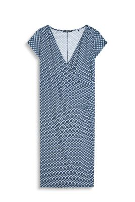 Esprit / Wrap-over effect, stretch jersey dress
