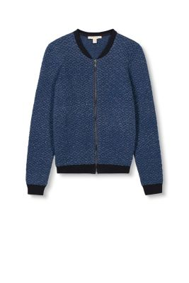 Esprit - Knitted bomber jacket, cotton blend at our Online Shop
