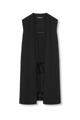 esprit soepel lang vest met strikceintuur kopen in de online shop. Black Bedroom Furniture Sets. Home Design Ideas