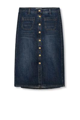 esprit stretch denim skirt with length placket at
