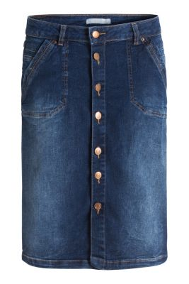 esprit denim skirt with button placket and stretch at