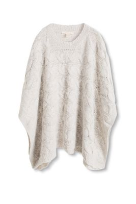 Esprit - Chunky knit wool-blend cape at our Online Shop