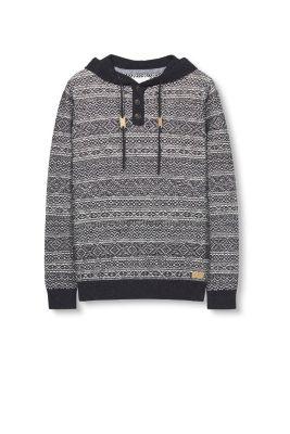 edc - Jacquard trui met capuchon, met wol kopen in de online shop