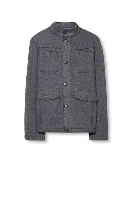 Esprit - Knit field jacket with quilted lining at our Online Shop
