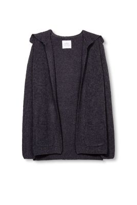 edc - Long ribbed knit cardigan with wool at our Online Shop
