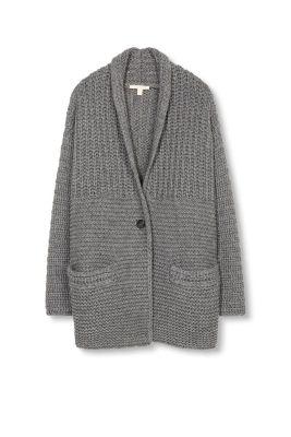 grobstrick cardigan damen esprit sweater grey. Black Bedroom Furniture Sets. Home Design Ideas