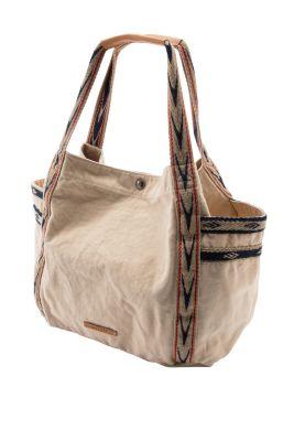 Grote Tas Geblokt : Esprit grote katoenen tas met leren garneersel kopen in