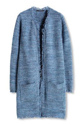 esprit lang gestructureerd vest met franjes kopen in de online shop. Black Bedroom Furniture Sets. Home Design Ideas