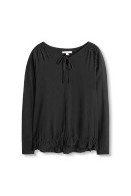 esprit flie ende bluse mit saum volant im online shop kaufen. Black Bedroom Furniture Sets. Home Design Ideas