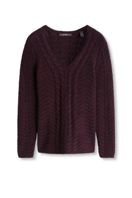 Esprit     trui met wol en kabelpatroon kopen in de online shop