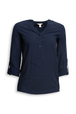 esprit flie ende turn up bluse mit tupfen dessin im online shop kaufen. Black Bedroom Furniture Sets. Home Design Ideas
