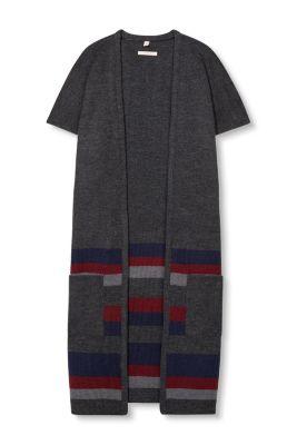 esprit lang gebreid vest met strepen en zakken kopen in de online shop. Black Bedroom Furniture Sets. Home Design Ideas