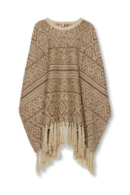 Knitting Pattern For Chunky Poncho : Esprit - Soft chunky knit ethnic poncho at our Online Shop