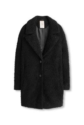 esprit boucl mantel mit gro em kragen im online shop kaufen. Black Bedroom Furniture Sets. Home Design Ideas